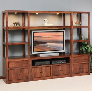 Etonnant Some Glass In An Entertainment Center Is Necessary For Visual Purposes But  It Is Important That The Shelves Are Solid Wood. The Rationale Behind This  Is To ...