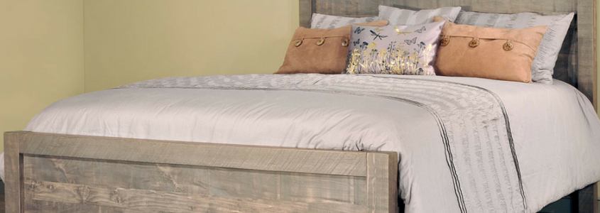Rustic and contemporary Sequoia Amish bed set