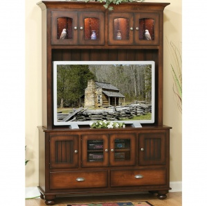 Cable Mill 2 Drawer Media Cabinet with Hutch Option