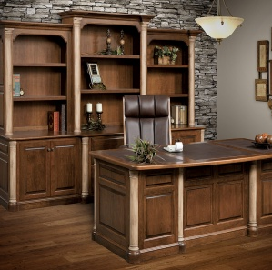 Jefferson Premier Office Furniture Set with Optional Hutch & Stone-Finished Posts