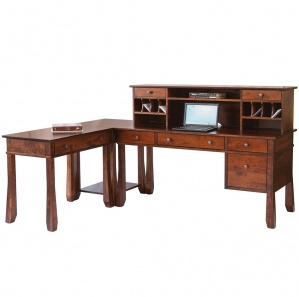 Craftsman Corner Office Furniture Set With Optional File Cabinet & Hutch