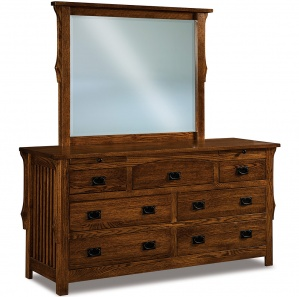 Stick Mission Amish Dresser with Arched Drawer and Mirror Option