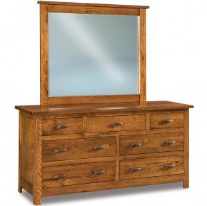 Milan Mission 7 Drawer Wide Amish Dresser