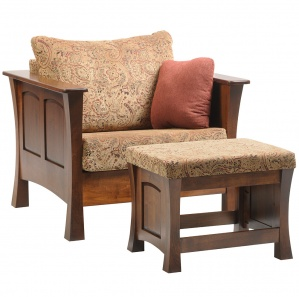 Midtown Club Amish Chair with Ottoman Option
