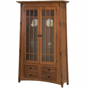 McCoy Full Mullion Door Water Glass Amish Bookcase Cabinet