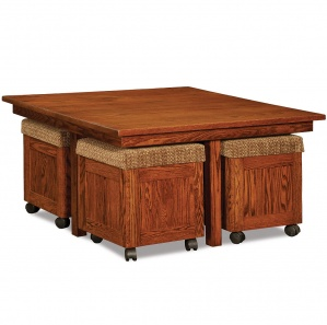 Oakdale Convertible Amish Coffee Table with Ottomans