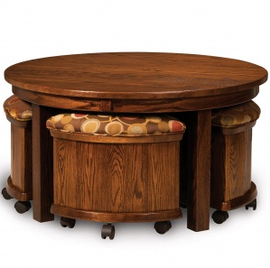 Del Mar Transforming Amish Coffee Table with Stools