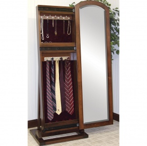 Cabinfield Jewelry & Tie Storage Sliding Leaner Mirror