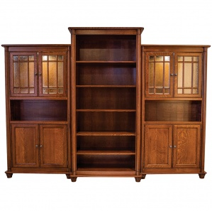 Pembroke Office Amish Cabinets with Bookcase
