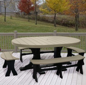 Brookview Oval Picnic Table and Benches
