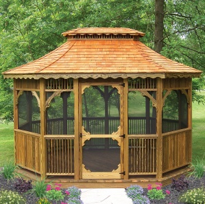 Victorian Pine Octagon and Oval Gazebo Kit