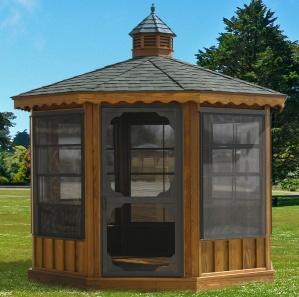 Three Season Pine Octagon and Oval Gazebo Room Kit