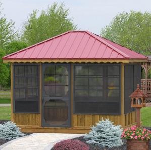 Three Season Pine Rectangle Gazebo Room Kit