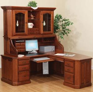 Fifth Avenue Executive Corner Roll Top Desk & Hutch Option