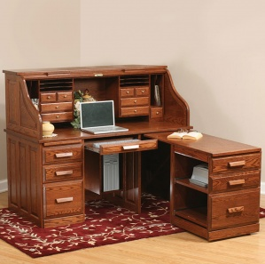 Computer Roll-Top Desk with Pull Out Return