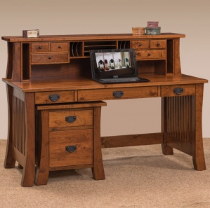 Ambrose Desk with Hutch & File Cabinet Option