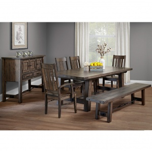 Amish Rustic Dining Table Set Wood Dinner Table Wood Bench Mission