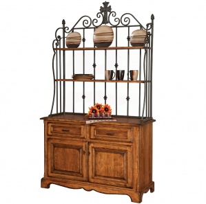 Avalon Amish Buffet with Wrought Iron Hutch