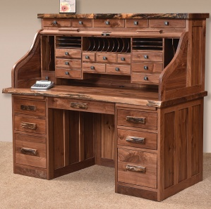 Deluxe Roll Top Desk with Live Edge Top