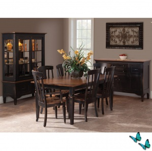 Black Dining Room Set:Solid Wood Table, Dining Chairs, Buffet ...