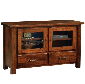 Barn Floor 2 Door Amish TV Stand with Drawers