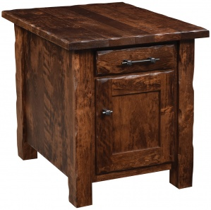 Hand Hewn Amish End Table with Door