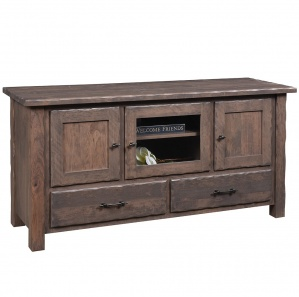 Hand Hewn Amish TV Stand with Drawers