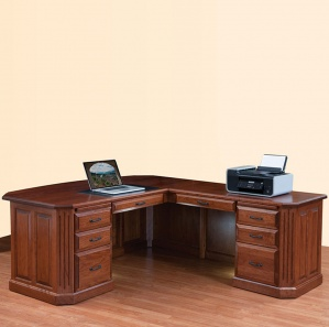 Fifth Avenue Executive L-Desk with Amish Hutch Option