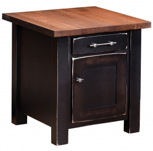Reclaimed Barnwood Amish End Table with Door