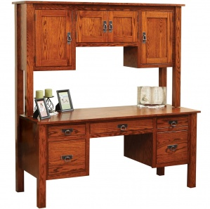 Post Mission Amish Desk with Amish Hutch Option
