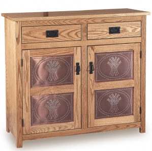 Wide Mission 2 Panel Amish Pie Safe