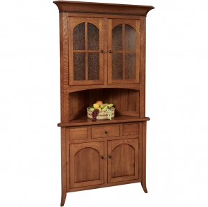Bunker Hill Amish Corner Hutch with Drawer