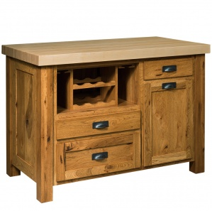 Mill Town Amish Kitchen Island with Wine Rack