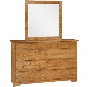 New Albany Amish 9 Drawer Dresser & Optional Mirror