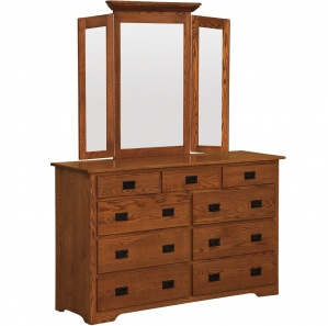 Harmony 9 Drawer Amish Dresser with Mirror Option