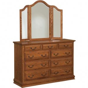 Harmony Royal Amish 9 Drawer Dresser & Optional Mirror