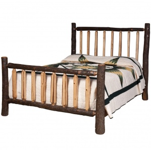 Hickory Lumberjack Amish Bed with Shaved Spindles