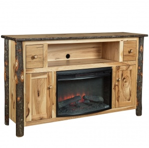 Hickory Amish Entertainment Center with Fireplace