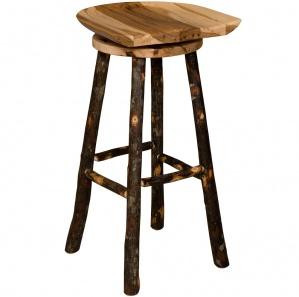 Hickory Saddle Amish Bar Stool with Swivel Seat