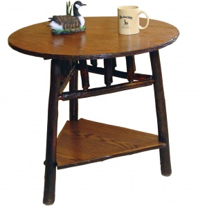 Allegheny Round Tri-Leg Amish Table with Shelf