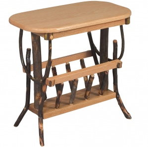 Allegheny Oval Amish End Table with Magazine Rack
