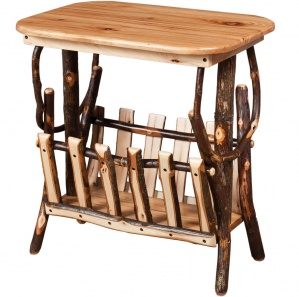 Allegheny Rounded Corner Amish End Table with Magazine Rack