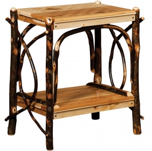 Hickory Checkerboard Amish End Table