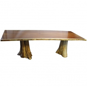 Guanacaste Amish Dining Table with Cedar Stump Base