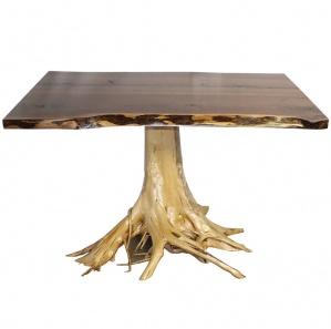 Walnut Amish Pub Table with Cedar Stump Base