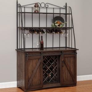 Cimarron Barn Door Amish Cabinet with Wine Rack