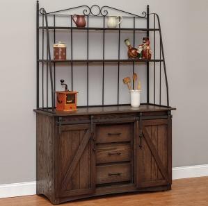 Cimarron Barn Door Amish Cabinet with Baker's Rack
