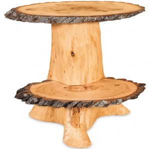 Elkhorn Stump Amish End Table with Wood Slabs