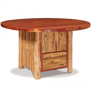 Elkhorn Round Amish Table with Cabinet