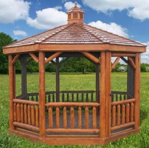 Cabinfield  Octagon Cedar Log Gazebo Kit